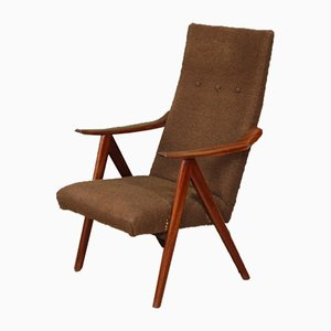 Mid-Century Dutch Teak High-Back Armchair