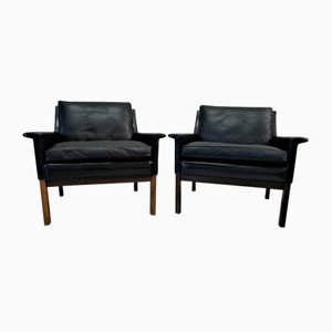 Vintage Scandinavian Black Leather Lounge Chairs, Set of 2