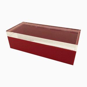 Mid-Century Schachtel aus Plexiglas in Rot & Klar von Alessandro Albrizzi