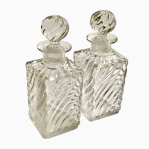 Antique Crystal Perfume Bottles with Bamboo Swirl Pattern from Baccarat, Set of 2