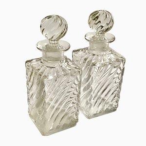 Bouteilles de Parfum Antique en Cristal avec Motif en Bambou de Baccarat, Set de 2