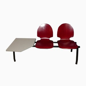 Industrielle Vintage Wartezimmer 2-Sitzer Bank mit Tisch