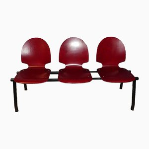Vintage Industrial Waiting Room 3-Seater Red Bench