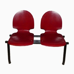 Vintage Industrial Waiting Room 2-Seater Red Bench