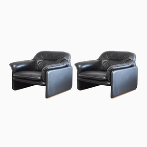 Vintage Black Leather DS 16 Lounge Chairs from De Sede, Set of 2