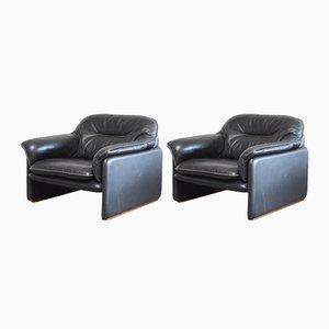 Vintage DS 16 Sessel aus Schwarzem Leder von De Sede, 2er Set