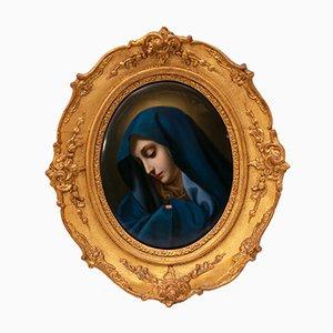 Plaque Ovale en Porcelaine avec Image de Madonna de KPM Berlin, 1830s