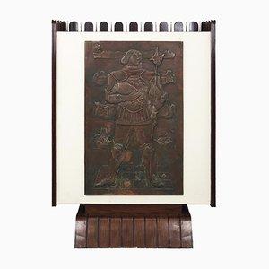 Barschrank aus Holz & Kupfer von Luigi Scremin, 1948