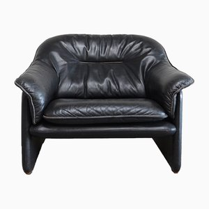 Vintage Black Leather DS 16 Lounge Chair from De Sede