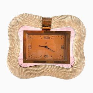 Orologio da tavolo vintage in cristallo di Murano