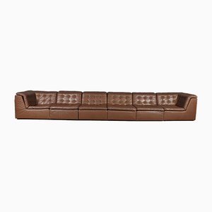 Sofá modular de retales de cuero coñac, años 70