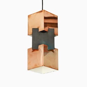 Copper & Matte Black Pendant Light by Jo Hammerborg for Fog & Mørup, 1960s
