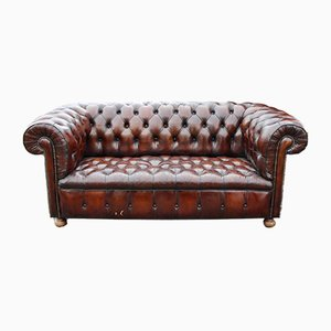 Brown Button-Backed Leather Chesterfield Sofa, 1920s
