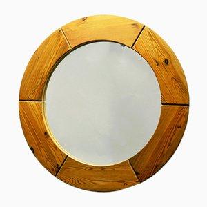 Espejo de pared sueco redondo de pino de Glasmäster, años 50