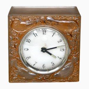 Horloge avec 4 Moineaux Japonais Décoratifs par R. Lalique, 1928