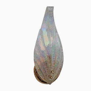 Lámparas de pared de cristal de Murano iridiscente y latón, años 90. Juego de 2