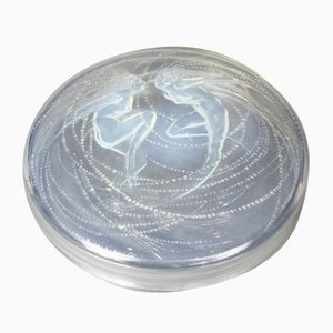 Opalescent Glass Box with Mermaid Decorations by René Lalique, 1921