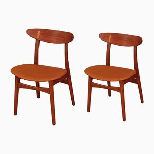 CH30 Teak & Oak Chairs by Hans J. Wegner for Carl Hansen & Son, Set of 2