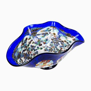 Murano Glass Blue Millefiori Centerpiece by Imperio Rossi for Made Murano Glass, 2019