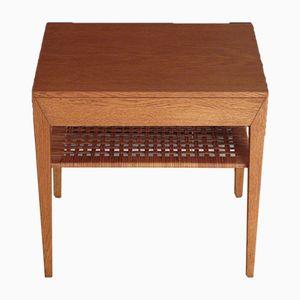 35 Oak & Rattan Bedside Table by Severin Hansen for Haslev Møbelsnedkeri, 1950s
