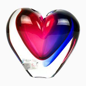 Jarrón en forma de corazón de cristal de Murano soplado de Michele Onesto para Made Murano, 2019
