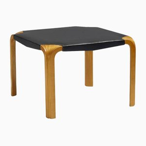 Birch and Leather X-Leg Stool by Alvar Aalto for Artek, 1954