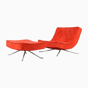 Vintage Red Pop Easy Lounge Chair & Ottoman Set by Christian Werner for Ligne Roset, 1990s