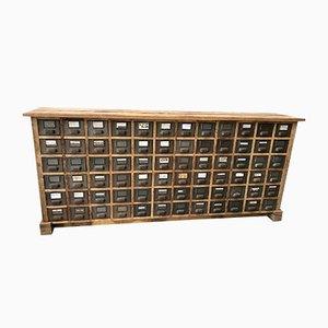 Mueble industrial con 72 cajones de metal, años 60