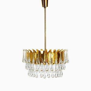 Lampadario grande in ottone con gocce in cristallo di Palwa, anni '70