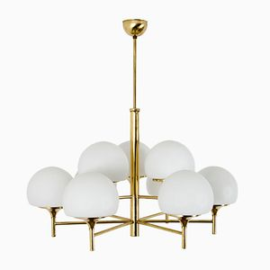 Mid-Century Brass & Glass Chandelier