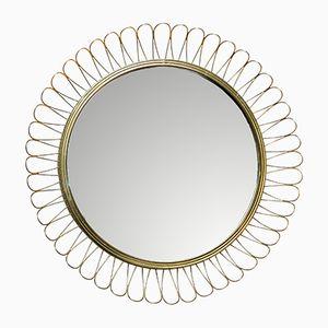 Vintage Spiegel mit Messingrahmen im Josef Frank Stil