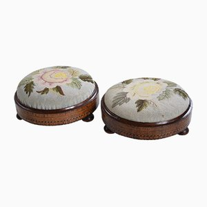 Antique Walnut Parquetry Inlaid Needlepoint Footstools, Set of 2