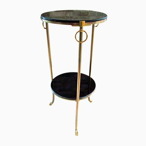 French Glass & Brass Side Table from Maison Charles, 1960s