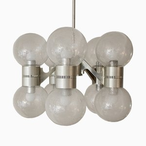 Lámpara de araña Mid-Century de vidrio Pulegoso
