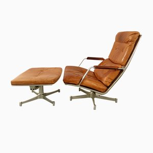 Vintage FK 85 Lounge Chair & Ottoman Set by Fabricius & Kastholm for Kill International