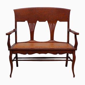 2-Sitzer Bank im edwardischen Stil mit fächerförmiger Rückenlehne, 1930er