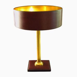 Leather & Brass Table Lamp by Jacques Adnet for Le Tanneur, 1958