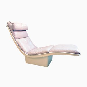 French Fiberglass & Grey Leather Lounge Chair, 1970s