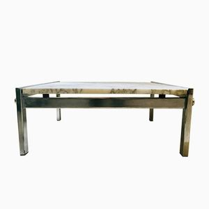 Rectangular White Marble Coffee Table, 1970s