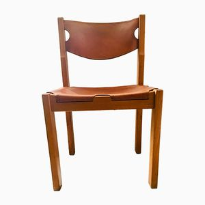 Leather & Solid Elm Dining Chairs, 1960s, Set of 6