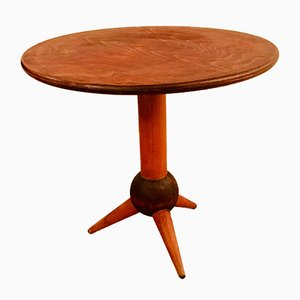 Vintage Walnut & Beech Tripod Pedestal Table, 1950s
