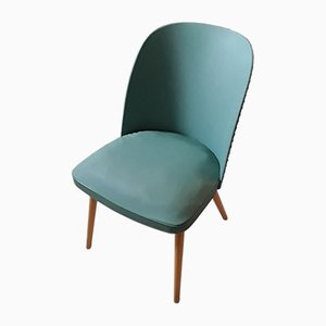 Vintage Chair with Rounded Green Synthetic Leather Back