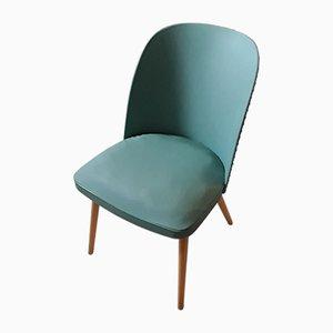 Vintage Stuhl mit abgerundeter grüner Rückenlehne aus Kunstleder
