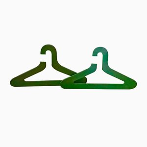 Vintage Green Plywood Hangers, Set of 2