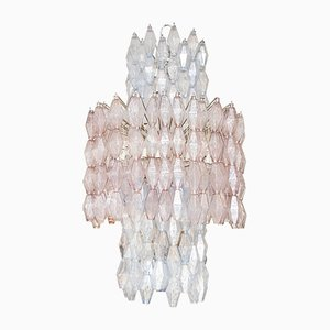 Large Poliedri Murano Glass Chandelier from Venini, 1950s