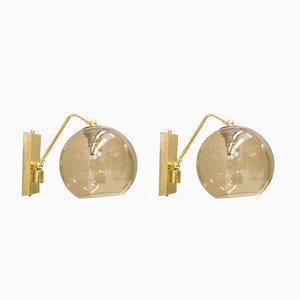Brass & Smoked Glass Wall Lamps, 1960s, Set of 2