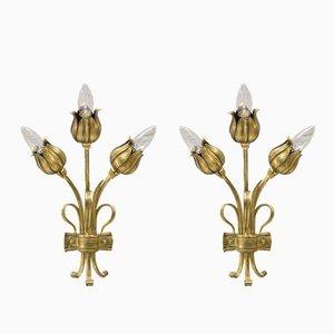 Lámparas de pared florales de bronce macizo, años 70. Juego de 2
