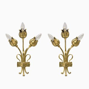 Solid Bronze Floral Wall Lights, 1970s, Set of 2