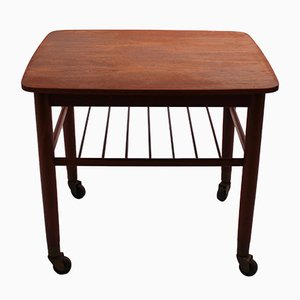 Danish Teak Side Table on Wheels, 1960s