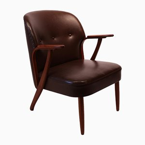 Danish Dark Brown Leather and Teak Easy Chair, 1940s